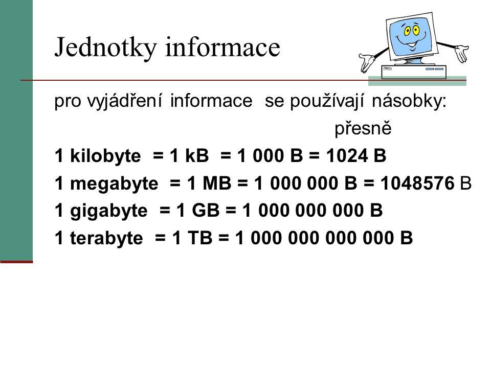 Jednotky informace pro vyjádření informace se používají násobky: