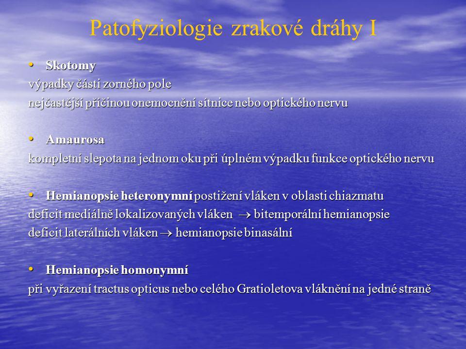 Patofyziologie zrakové dráhy I