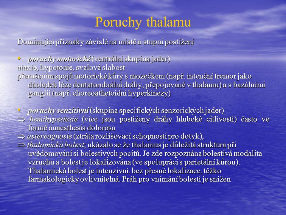 Poruchy thalamu Dominující příznaky závislé na místě a stupni postižení. poruchy motorické (ventrální skupina jader)
