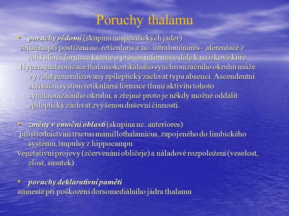 Poruchy thalamu poruchy vědomí (skupina nespecifických jader)