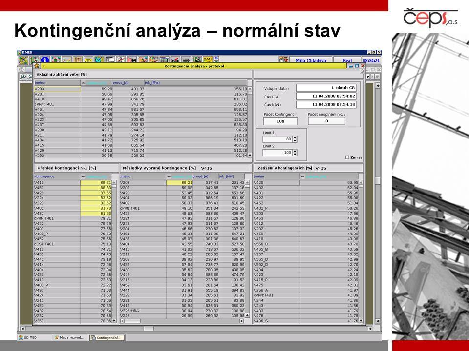 Kontingenční analýza – normální stav