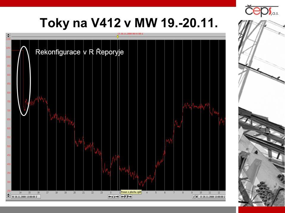 Toky na V412 v MW 19.-20.11. Rekonfigurace v R Řeporyje