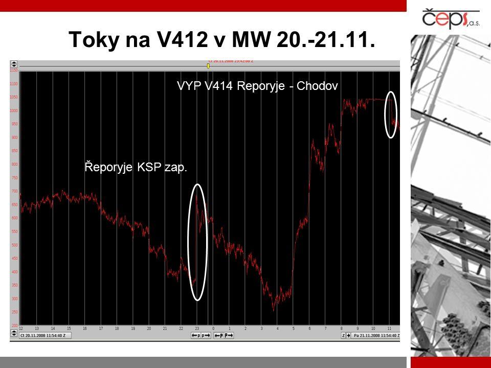 Toky na V412 v MW 20.-21.11. VYP V414 Reporyje - Chodov