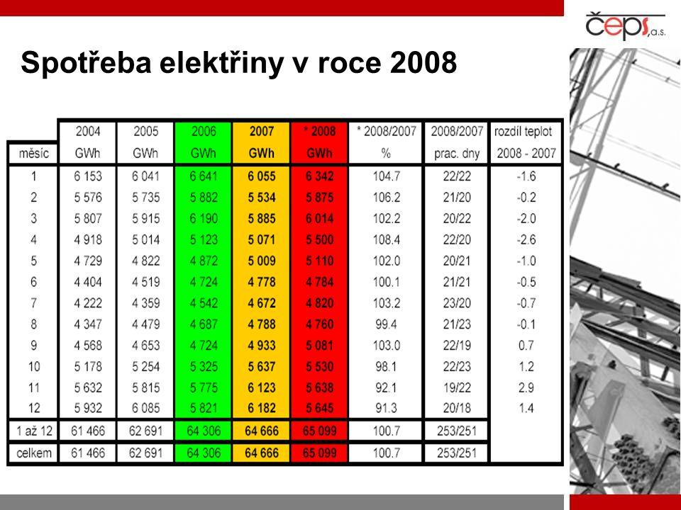 Spotřeba elektřiny v roce 2008