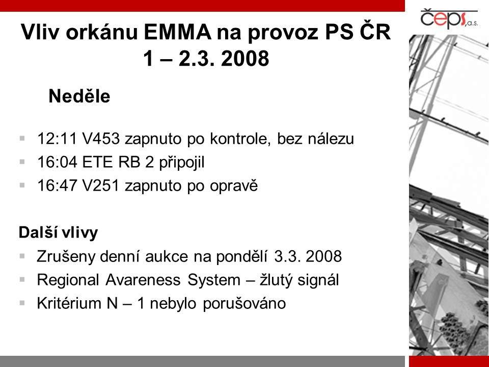 Vliv orkánu EMMA na provoz PS ČR 1 – 2.3. 2008