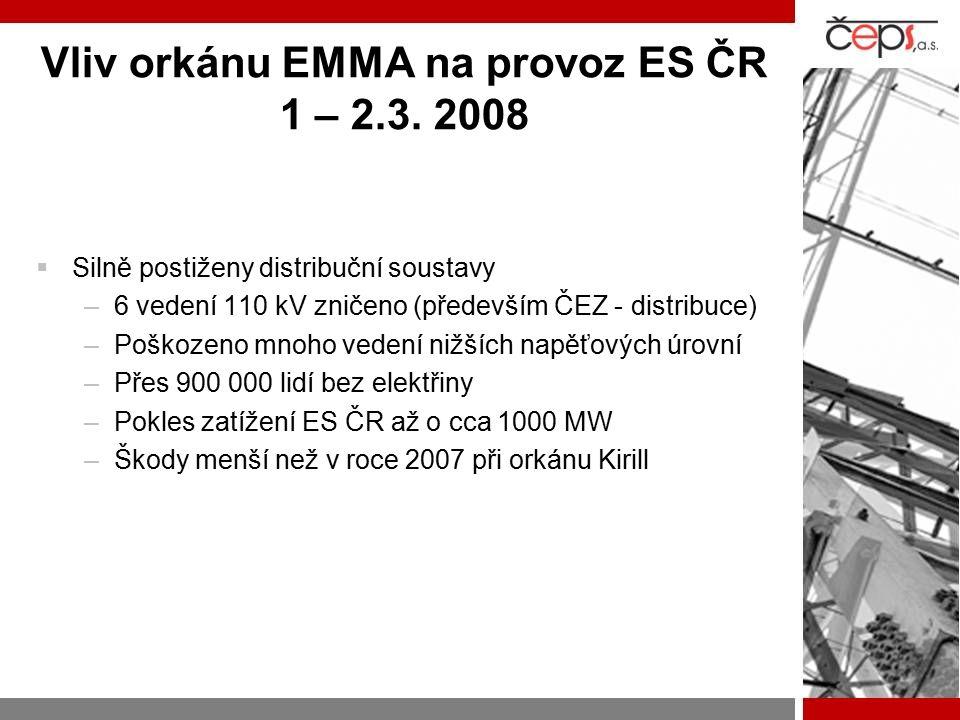 Vliv orkánu EMMA na provoz ES ČR 1 – 2.3. 2008
