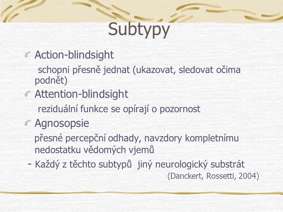Subtypy Action-blindsight
