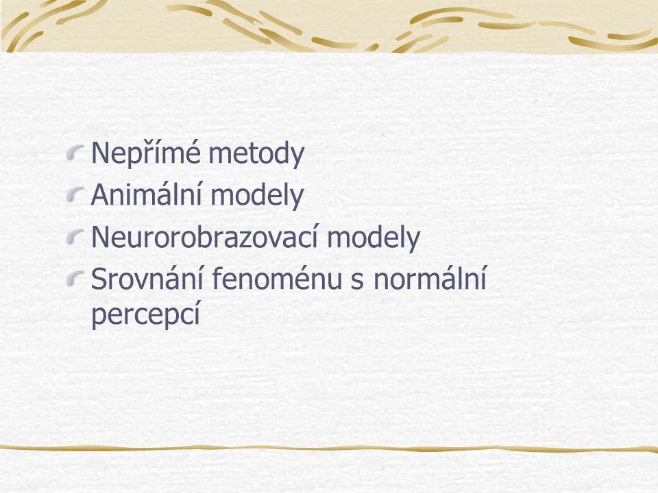 Nepřímé metody Animální modely Neurorobrazovací modely Srovnání fenoménu s normální percepcí