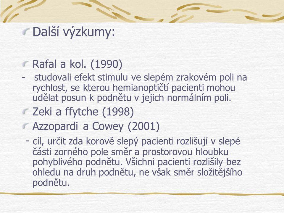 Další výzkumy: Rafal a kol. (1990) Zeki a ffytche (1998)