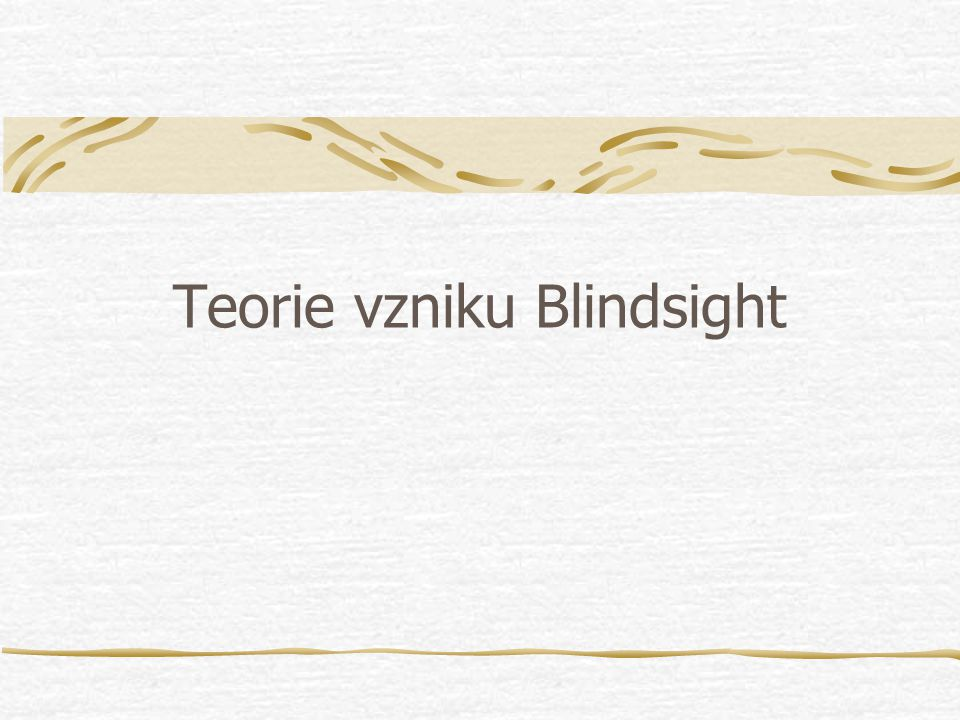 Teorie vzniku Blindsight