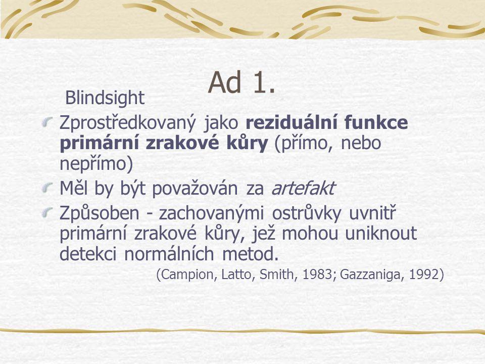 Ad 1. Blindsight. Zprostředkovaný jako reziduální funkce primární zrakové kůry (přímo, nebo nepřímo)
