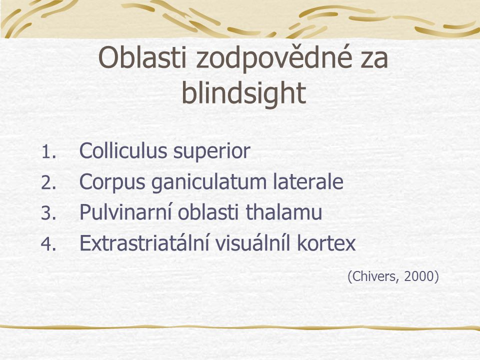 Oblasti zodpovědné za blindsight