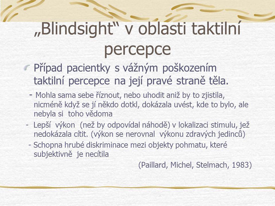 """""""Blindsight v oblasti taktilní percepce"""