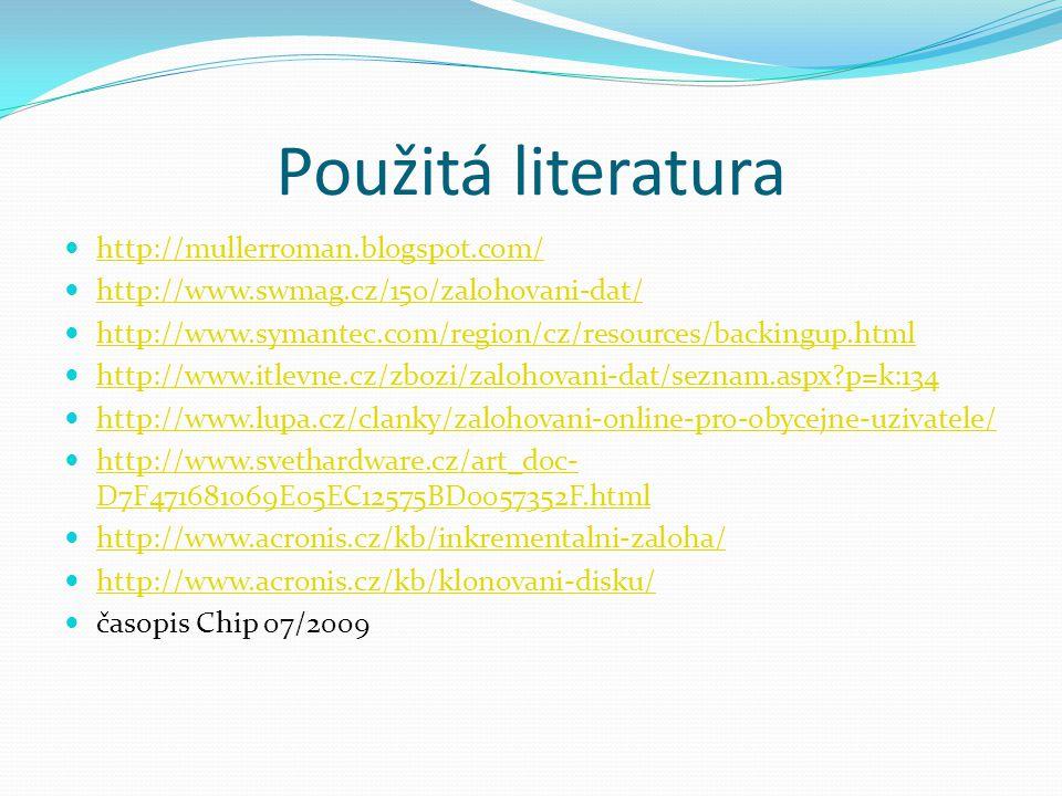 Použitá literatura http://mullerroman.blogspot.com/