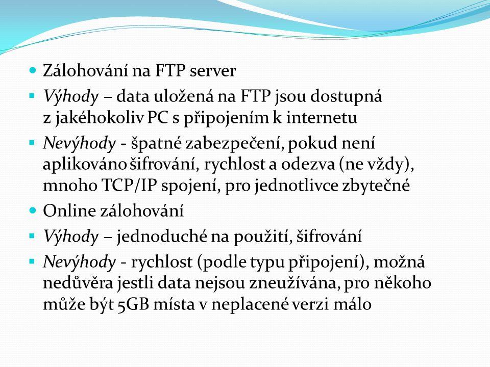 Zálohování na FTP server