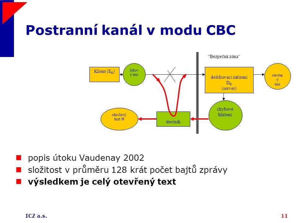 Postranní kanál v modu CBC