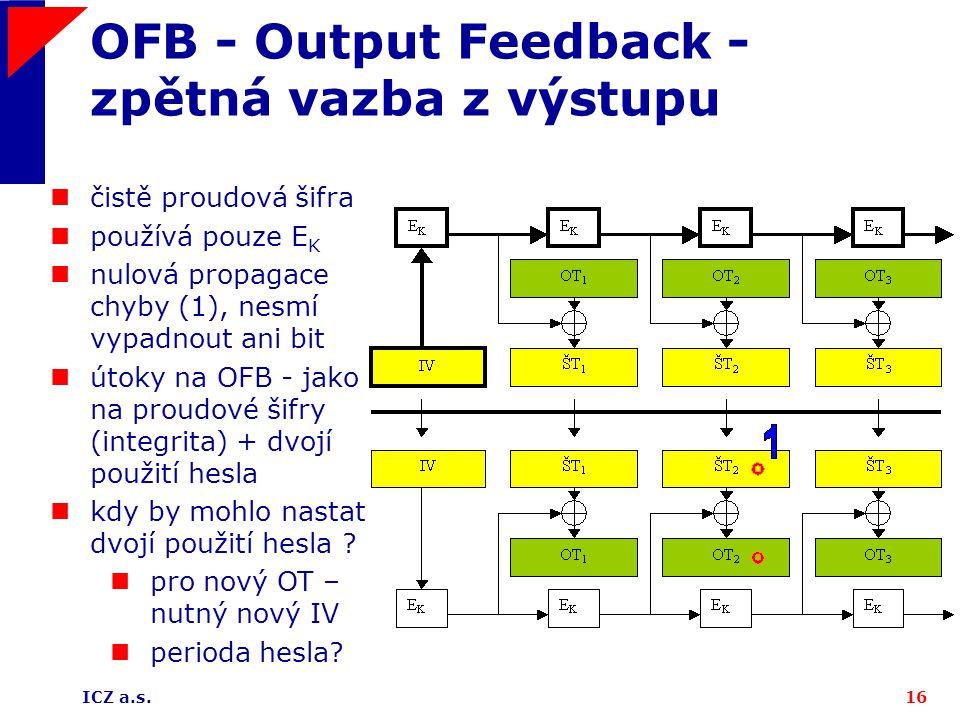 OFB - Output Feedback - zpětná vazba z výstupu