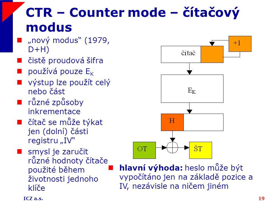 CTR – Counter mode – čítačový modus