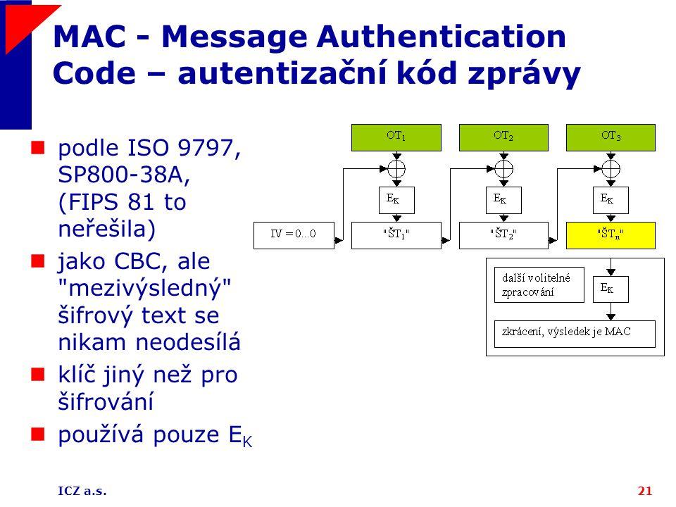 MAC - Message Authentication Code – autentizační kód zprávy