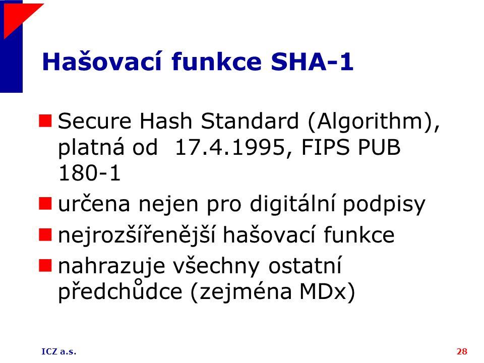 Hašovací funkce SHA-1 Secure Hash Standard (Algorithm), platná od 17.4.1995, FIPS PUB 180-1. určena nejen pro digitální podpisy.