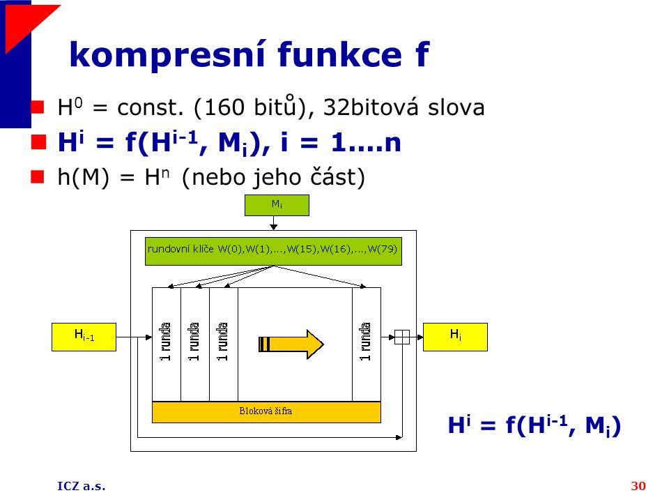 kompresní funkce f Hi = f(Hi-1, Mi), i = 1....n