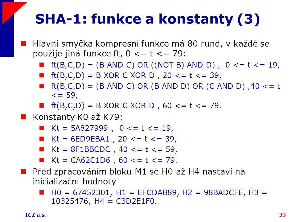 SHA-1: funkce a konstanty (3)