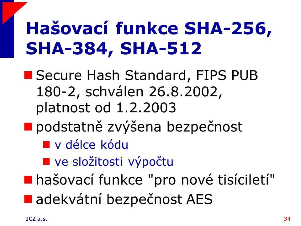 Hašovací funkce SHA-256, SHA-384, SHA-512