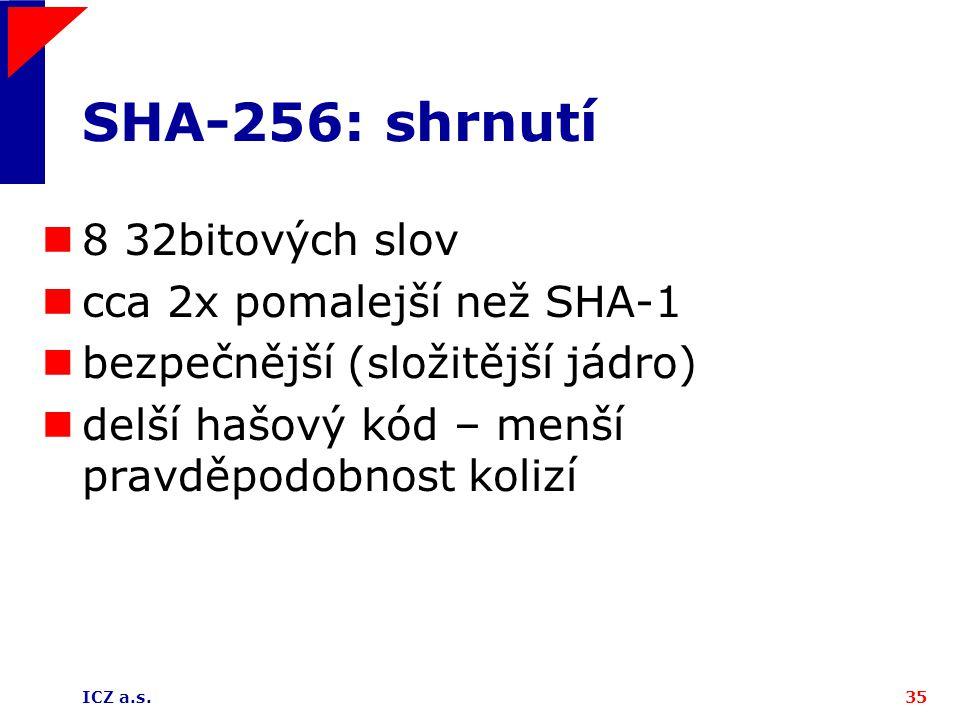 SHA-256: shrnutí 8 32bitových slov cca 2x pomalejší než SHA-1