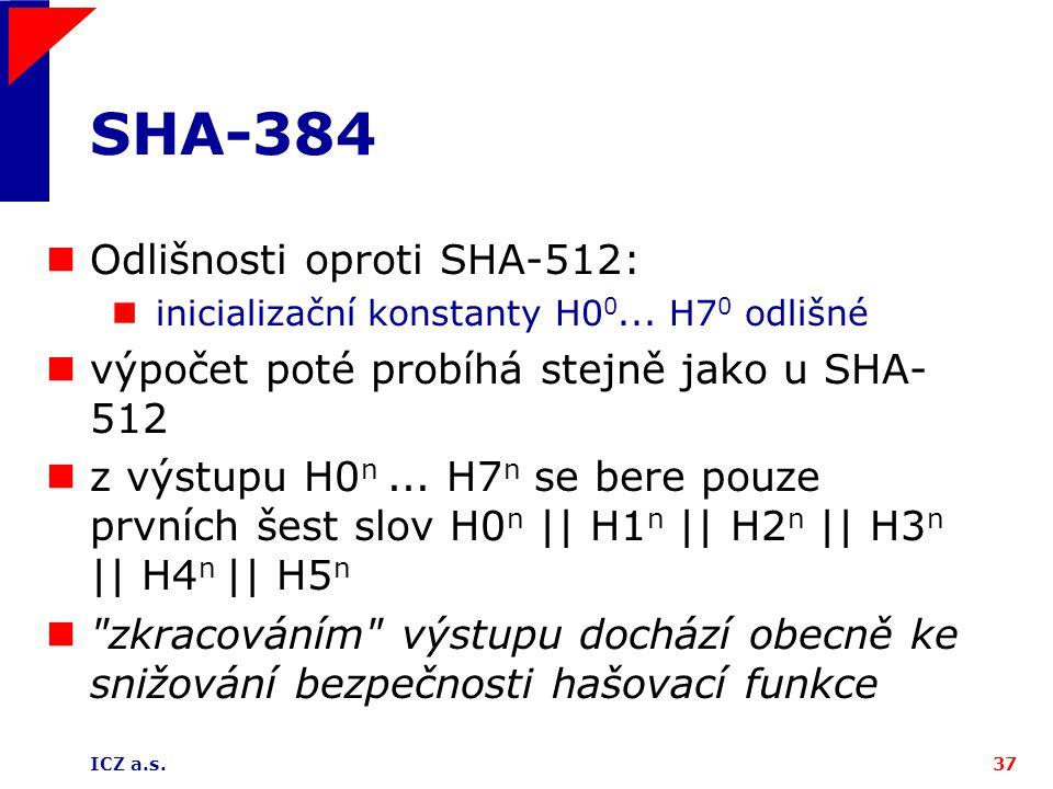 SHA-384 Odlišnosti oproti SHA-512: