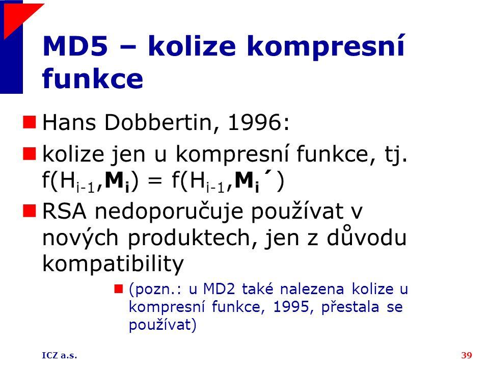 MD5 – kolize kompresní funkce
