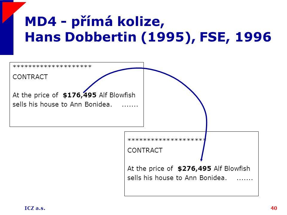 MD4 - přímá kolize, Hans Dobbertin (1995), FSE, 1996