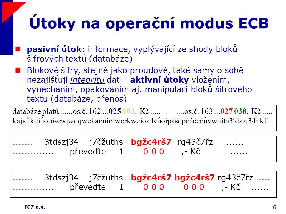 Útoky na operační modus ECB