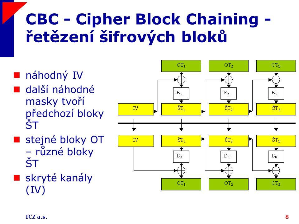 CBC - Cipher Block Chaining - řetězení šifrových bloků