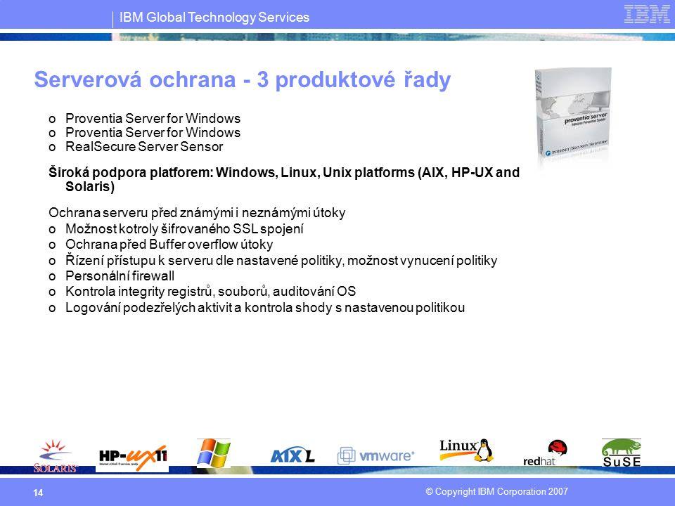 Serverová ochrana - 3 produktové řady