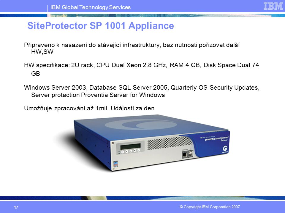 SiteProtector SP 1001 Appliance