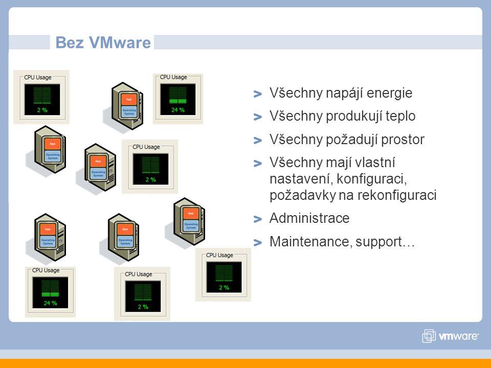 Bez VMware Všechny napájí energie Všechny produkují teplo