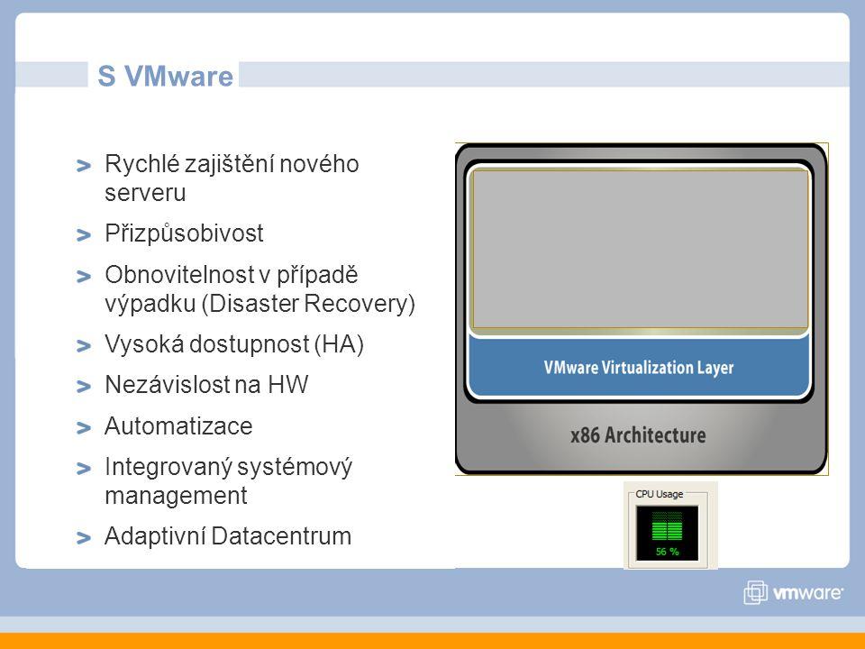 S VMware Rychlé zajištění nového serveru Přizpůsobivost