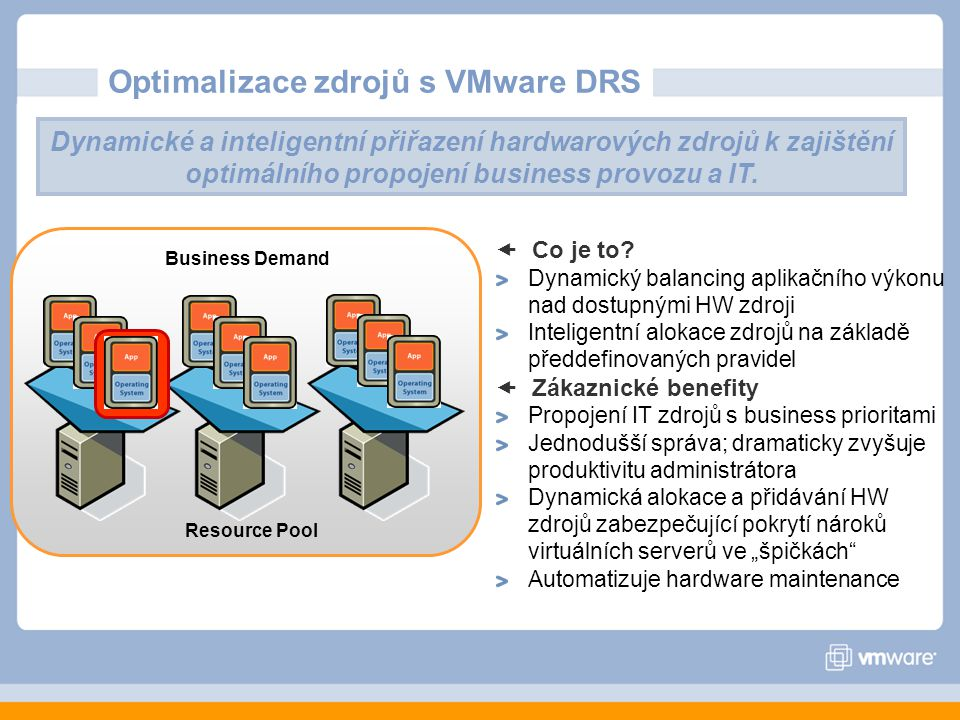Optimalizace zdrojů s VMware DRS