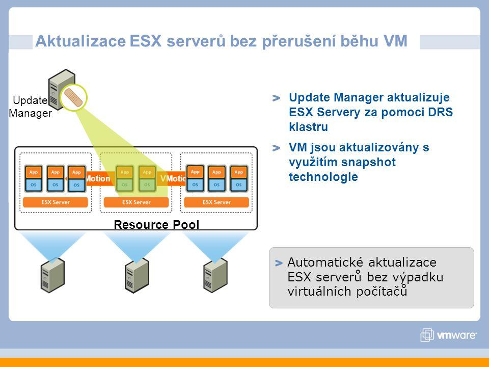 Aktualizace ESX serverů bez přerušení běhu VM