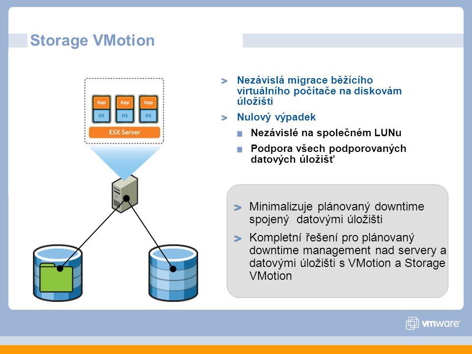 Storage VMotion Nezávislá migrace běžícího virtuálního počítače na diskovám úložišti. Nulový výpadek.