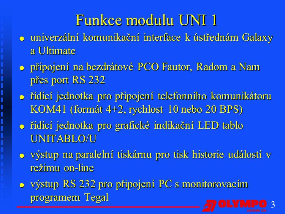 Funkce modulu UNI 1 univerzální komunikační interface k ústřednám Galaxy a Ultimate.