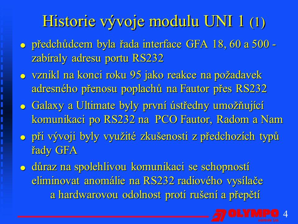 Historie vývoje modulu UNI 1 (1)