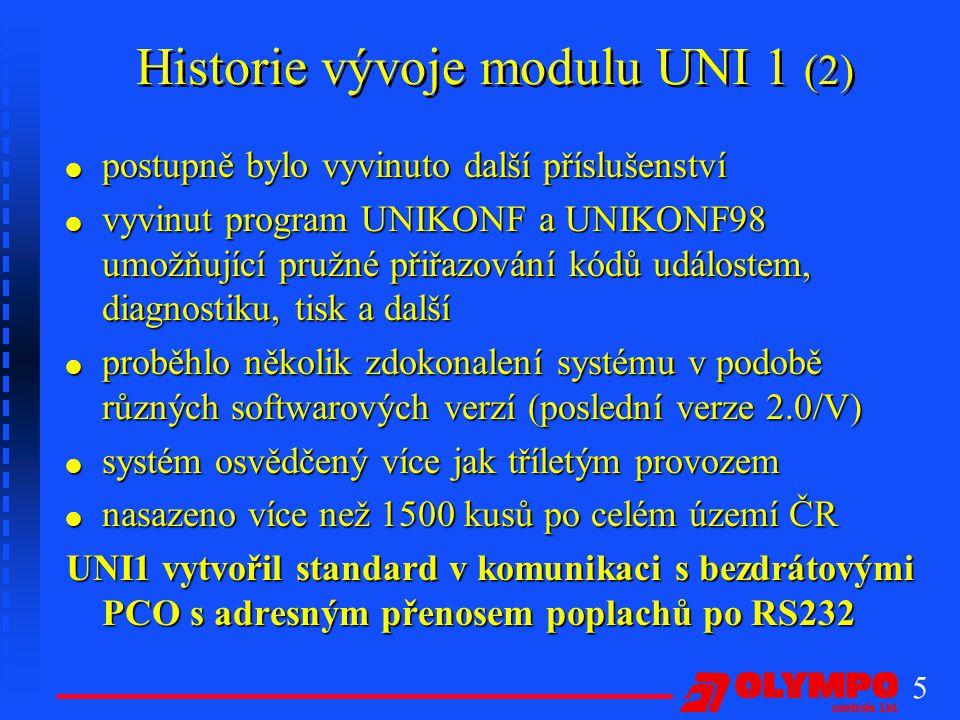 Historie vývoje modulu UNI 1 (2)