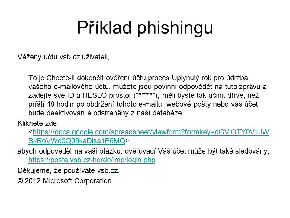 Příklad phishingu