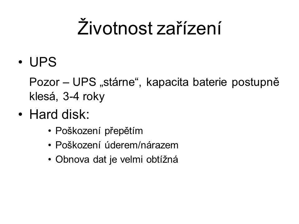 Životnost zařízení UPS