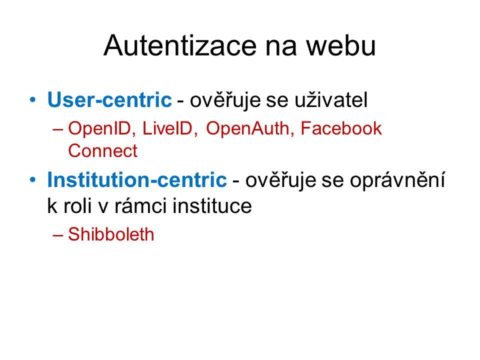 Autentizace na webu User-centric - ověřuje se uživatel