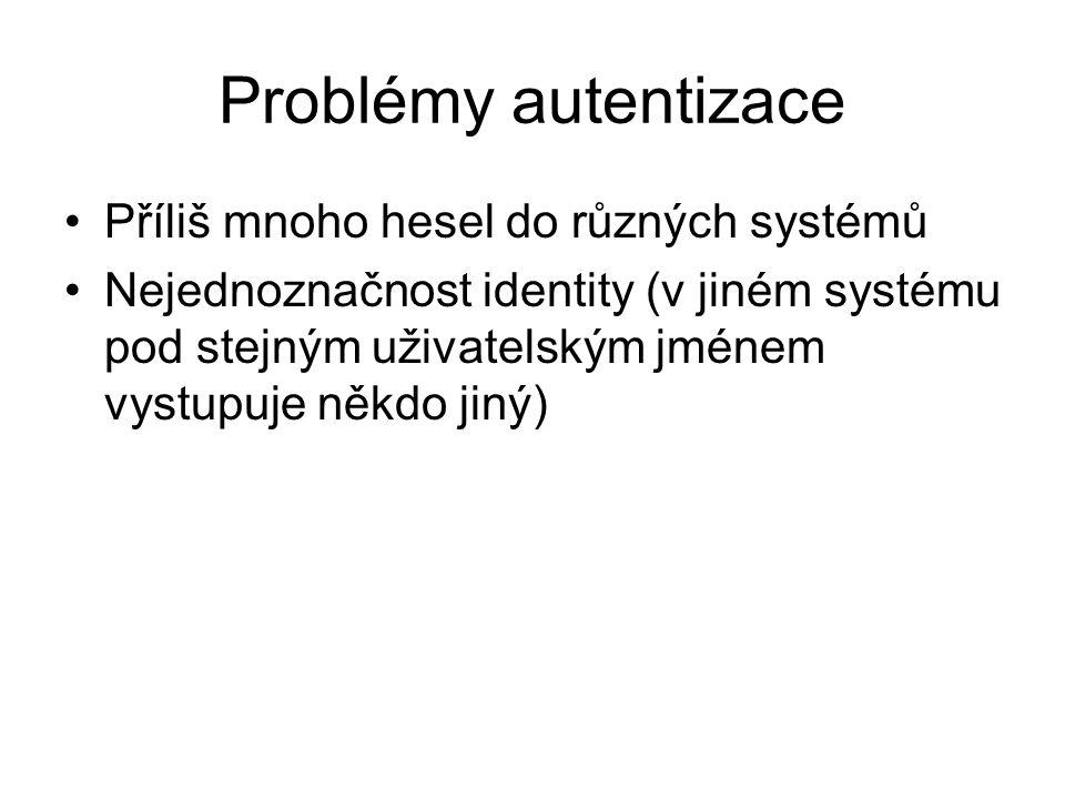 Problémy autentizace Příliš mnoho hesel do různých systémů