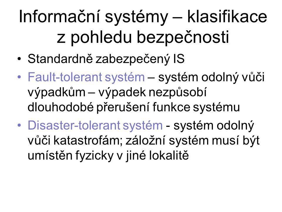 Informační systémy – klasifikace z pohledu bezpečnosti