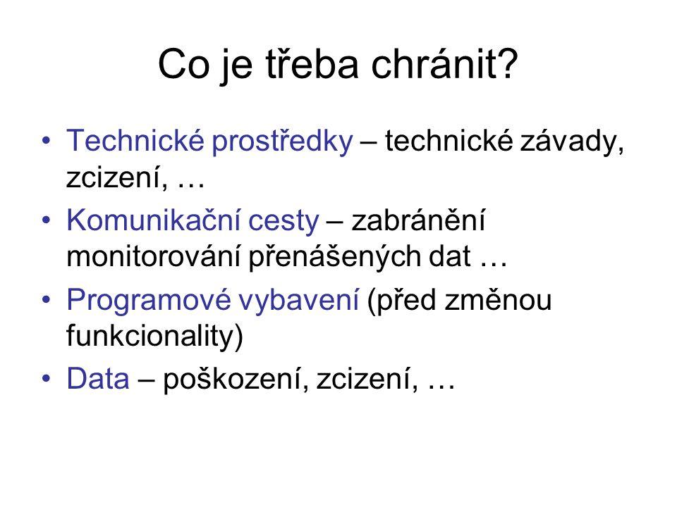 Co je třeba chránit Technické prostředky – technické závady, zcizení, … Komunikační cesty – zabránění monitorování přenášených dat …