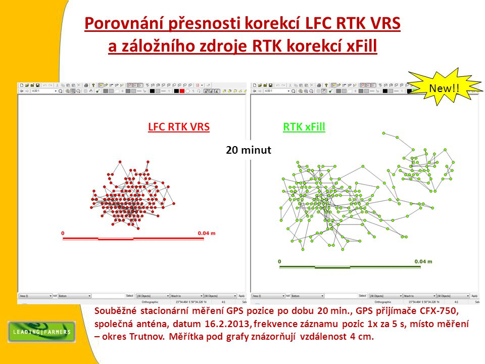 Porovnání přesnosti korekcí LFC RTK VRS a záložního zdroje RTK korekcí xFill